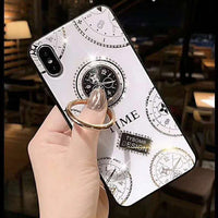 Glass Phone Case With Metal Ring Holder