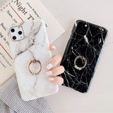 Glossy Marble iPhone Case With Ring Holder