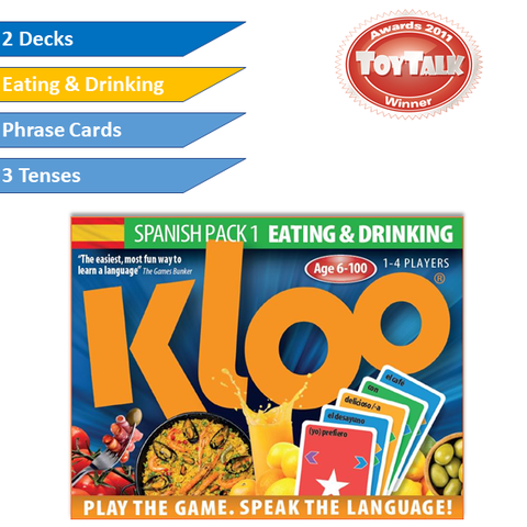 KLOO Learn Spanish Games, Pack 1 - Eating & Drinking - Double Deck Pack