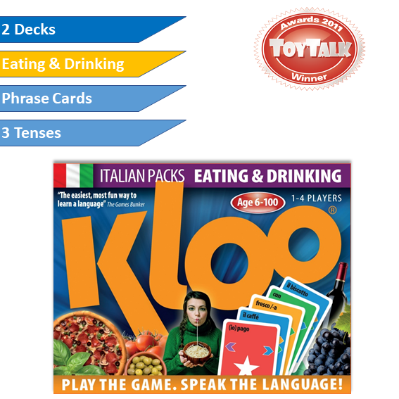 KLOO Learn Italian Games - Eating & Drinking -  Pack 3 (Double Deck)