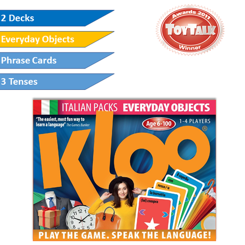 KLOO Learn Italian Games - Everyday Objects -  Pack 4 (Double Deck)