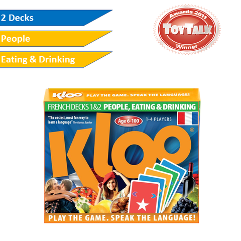 KLOO Learn French Games,  Pack 1 (Decks 1 & 2) - Play and Speak French