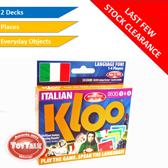Stock Clearance - KLOO Learn Italian Games, Pack 2 (Decks 3 & 4)