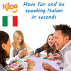 Family playing learn Italian game Learn to Speak Italian Card Games for kids schools and adults. Teach yourself Spanish or teach your child Italian