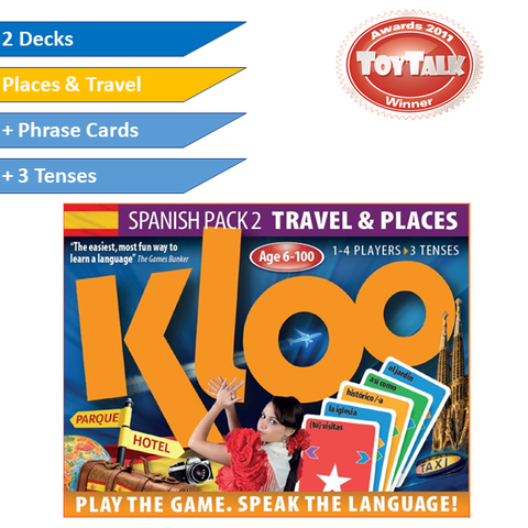 KLOO Learn Spanish Games, Pack 2 - Places and Travel - Double Deck Pack