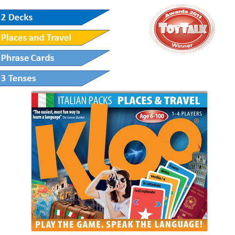 KLOO Learn Italian Games - Places & Travel -  Pack 2 (Double Deck)