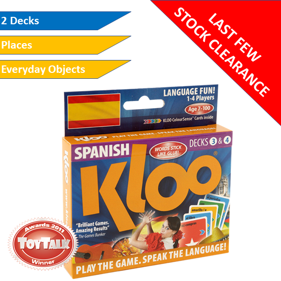 Stock Clearance - KLOO Learn Spanish Games, Pack 2 (Decks 3 & 4)