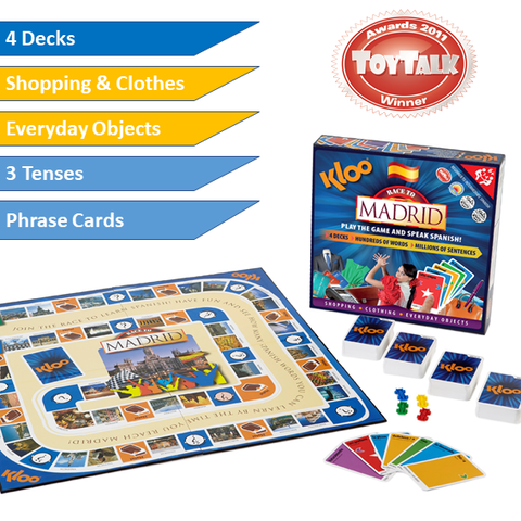 KLOO Race to Madrid - Learn Spanish Board Game for Kids and Adults - Clothes, Shopping & Everyday Objects