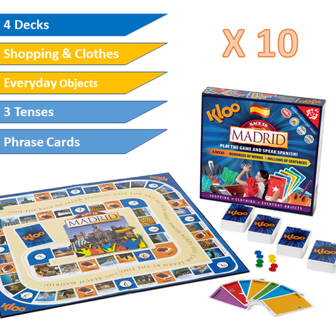 KLOO Learn Spanish MFL Games - Schools Gold Pack - 10 x Race to Madrid Board Games - Language Resources
