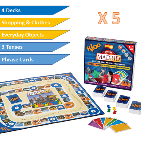 KLOO Learn Spanish MFL Games - School Value Pack - 5 x Race to Madrid Board Games - Language Resources