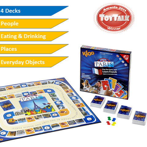 KLOO Race to Paris - Learn French Board Game for Kids and Adults