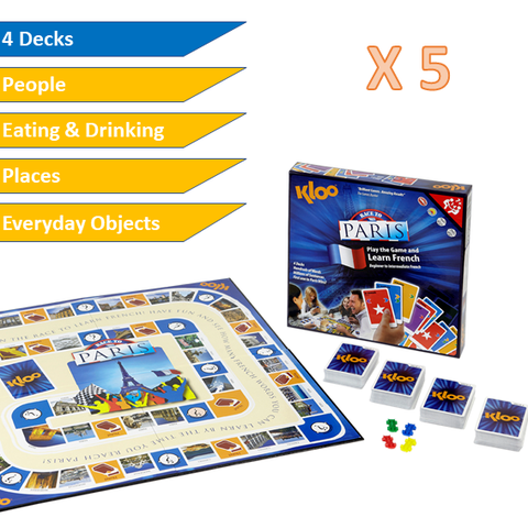 KLOO Learn French MFL Games - Schools Value Pack - 5 x Race to Paris Board Games - Language Resources