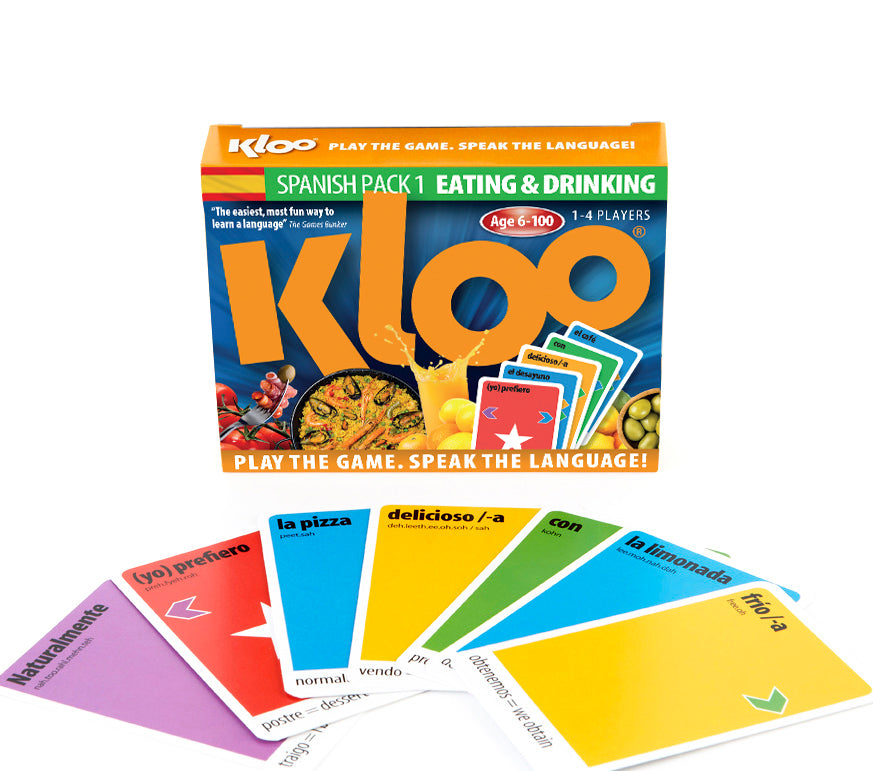 KLOO Games - Learn Spanish Games Packs 1 and 2 (Decks 1, 2, 3 & 4)
