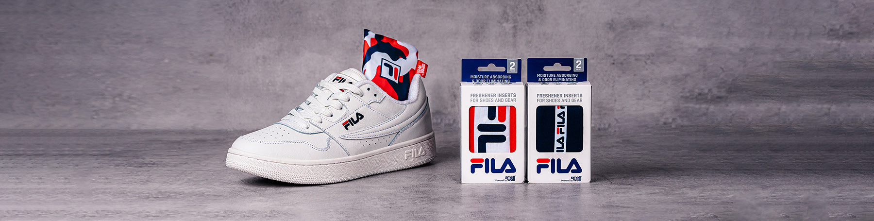 A FILA-sneaker and two different SmellWell Active - FILA designs.