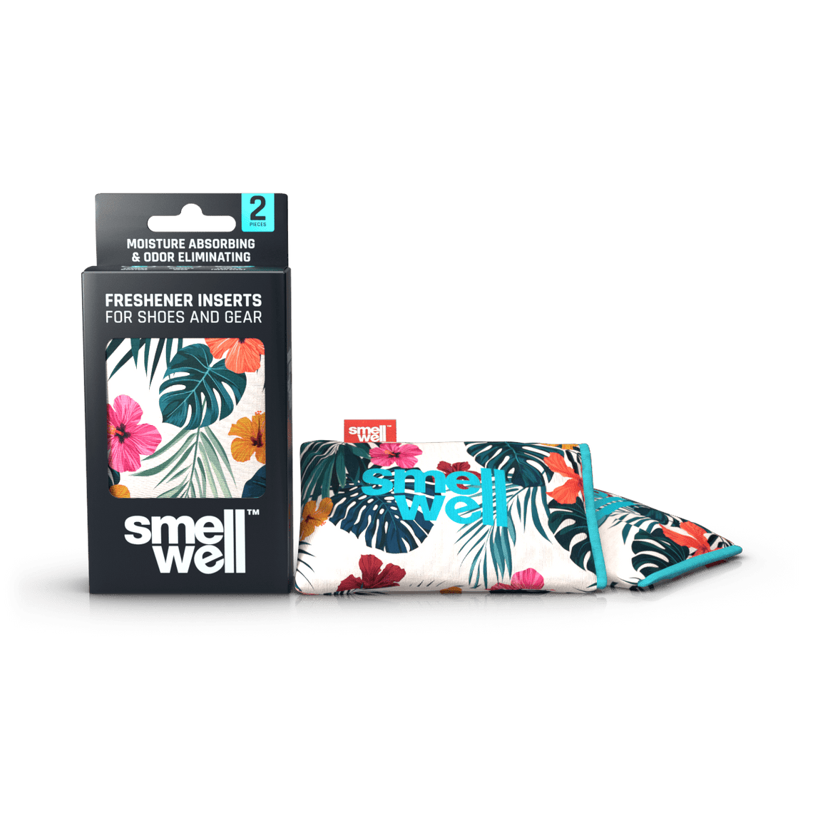 A package of SmellWell Active - Hawaii Floral and 2 SmellWell Active - Hawaii Floral freshener inserts bags next to it