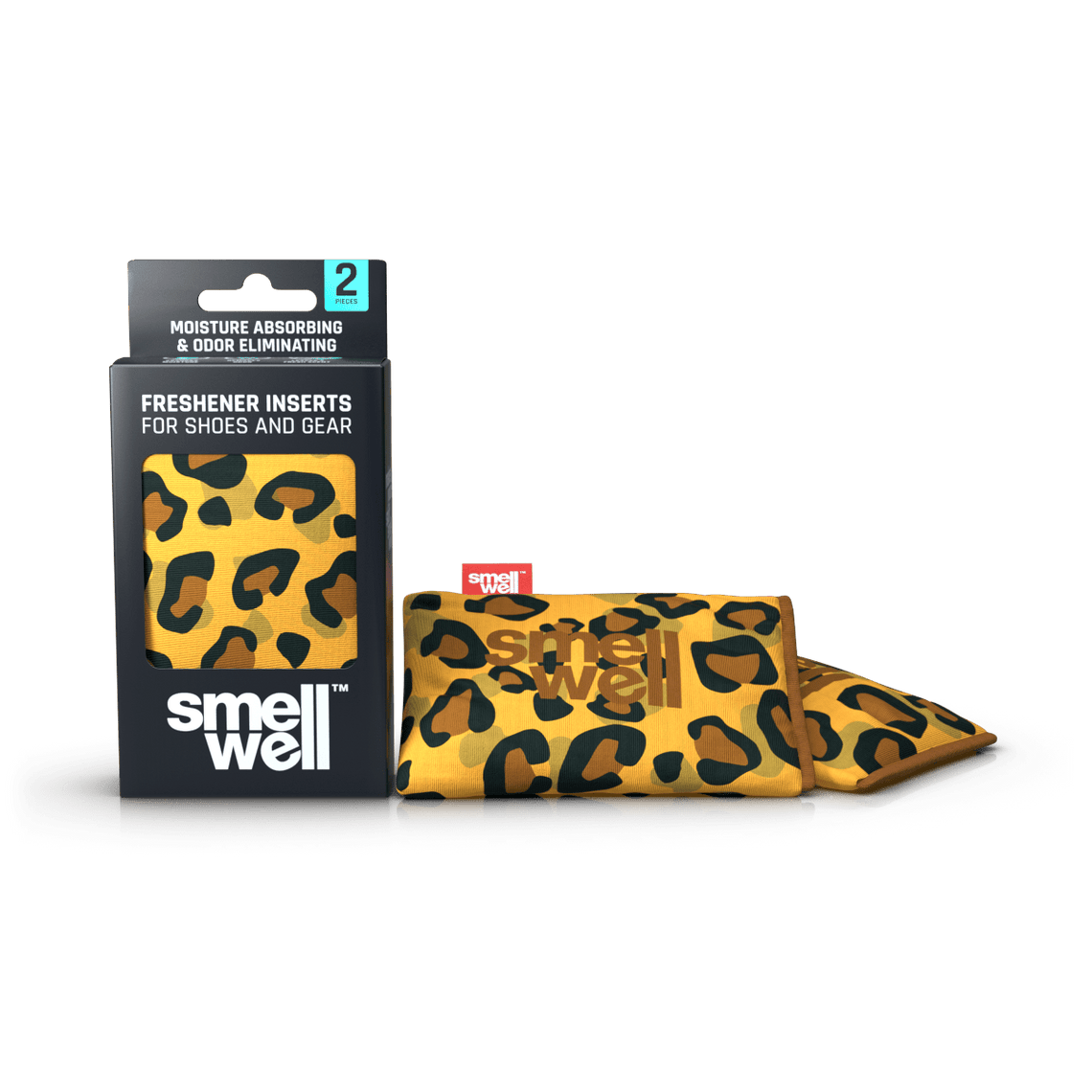 A package of SmellWell Active - Leo Brown and 2 SmellWell Active - Leo Brown freshener inserts bags next to it