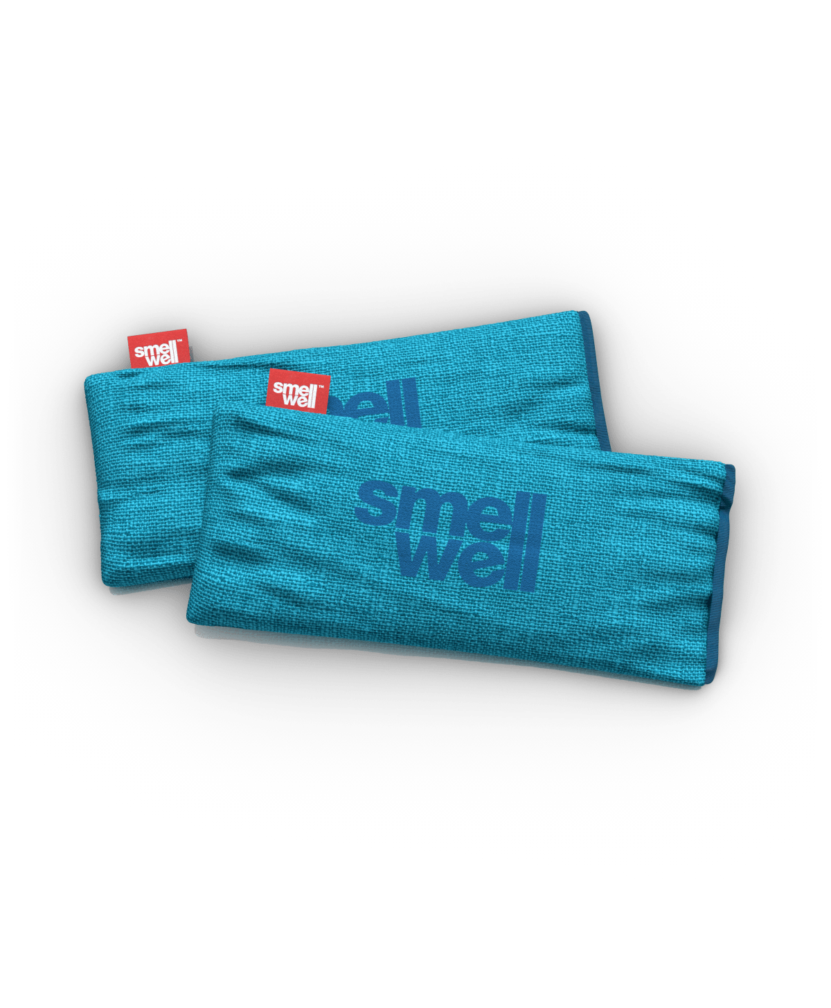A pair of SmellWell Sensitive XL - Blue sticking out of a pair of running shoes
