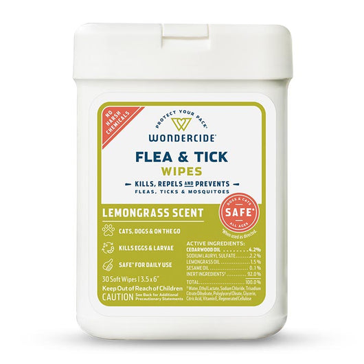 Lemongrass Flea & Tick Wipes for Dogs + Cats