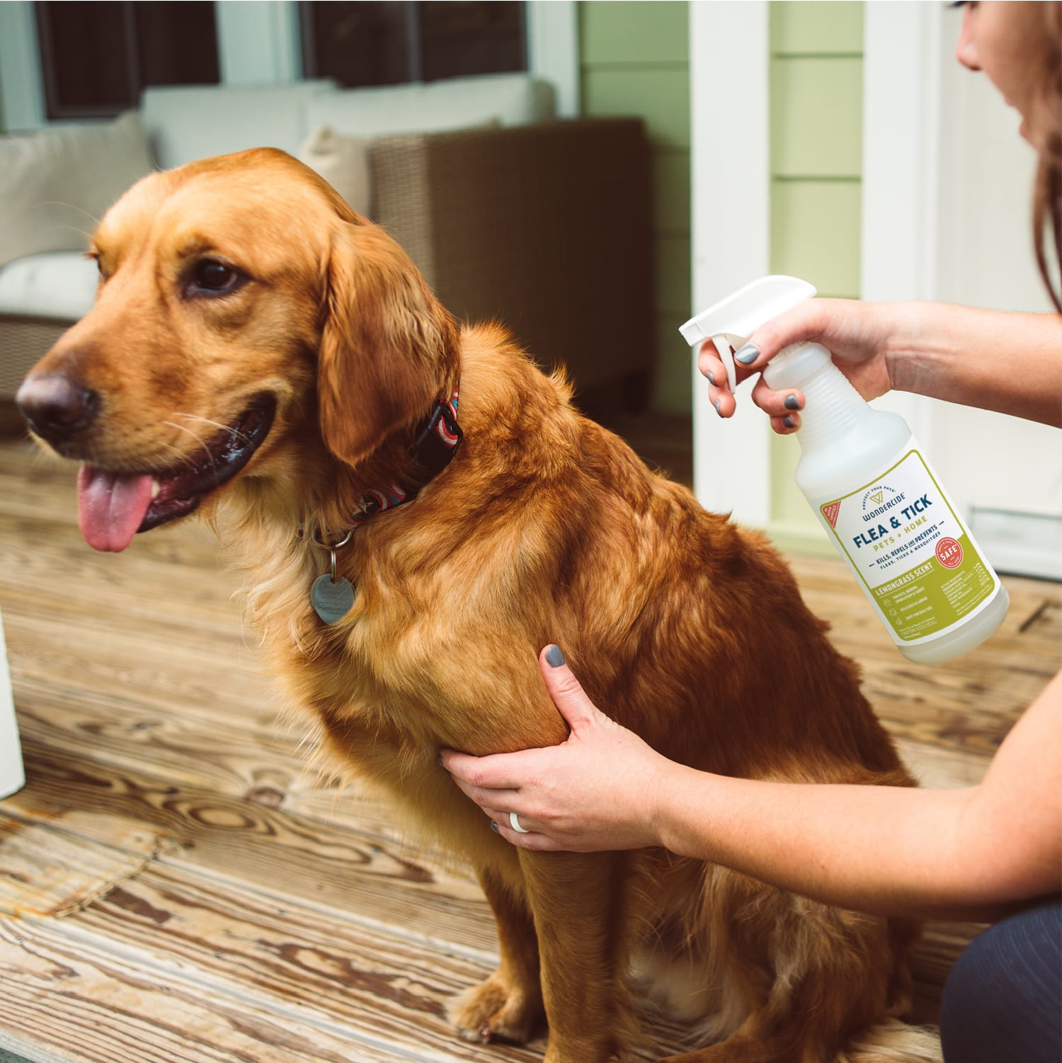 Lemongrass Flea & Tick Spray for Pets + Home - In Use