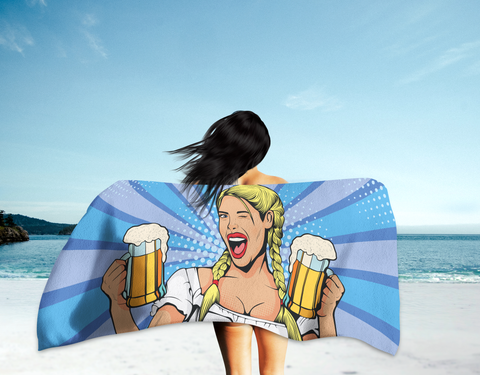 German Beer Maid Summer Beach Towel - Blue