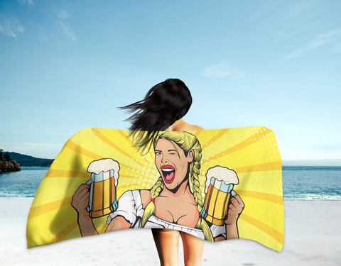 German Beer Maid Summer Beach Towel (Standard or Oversized) - Yellow