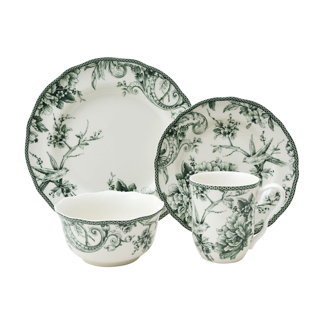 Adelaide Green 16 Piece Dinnerware Set