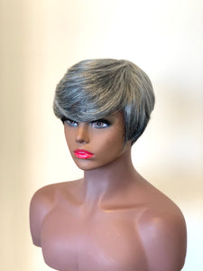 Mary-Mix Grey & Black Short Human Hair Wig