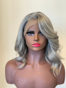 "Debbie-14"" 180% density lace frontal grey human hair wig"