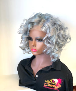 Lillie Lace closure human hair grey wig