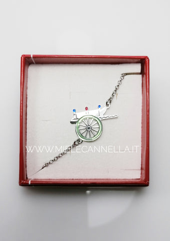 Linea Sicilia. Bracciale carretto siciliano realizzato in  argento 925 finemente smaltato. Gioiello anallergico - Nickel Free - Made in Italy