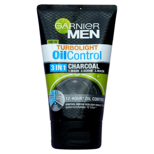 Garnier Men Turbolight Oil Control Charcoal 3 in 1 Face Wash Scrub 100ml - Asian Beauty Supply