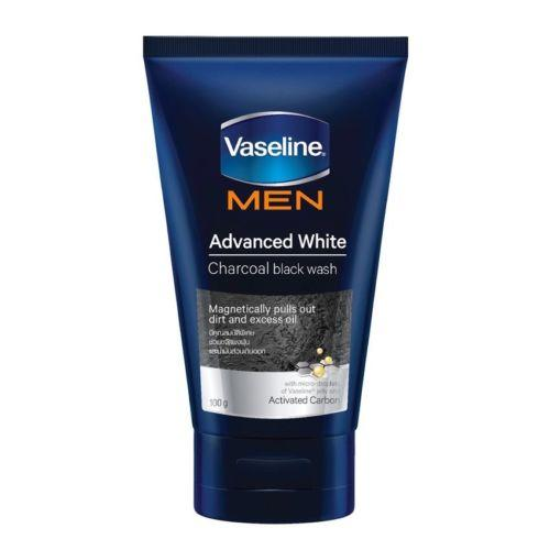 Vaseline Men Advanced White Charcoal Black Face Wash Visibly Fairer Skin 100g - Asian Beauty Supply