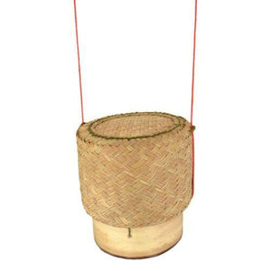 Bamboo Sticky Rice Steamer Set with Reed Serving Basket and Aluminum Pot - Asian Beauty Supply