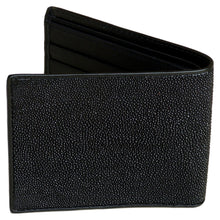 Load image into Gallery viewer, Genuine Stingray Skin Mens Wallet Slim Bifold Black with One Spine - Asian Beauty Supply