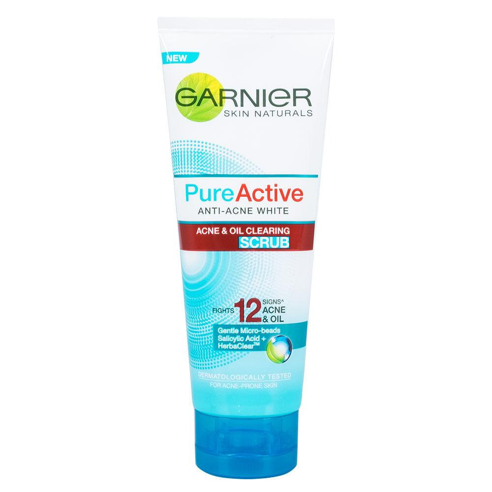Garnier Pure Active Anti Acne White Oil Clearing Scrub 100ml 3.4oz - Asian Beauty Supply