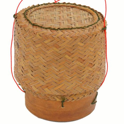 Thai Isaan Rattan and Bamboo Sticky Rice Serving Basket 5 Inch Diameter