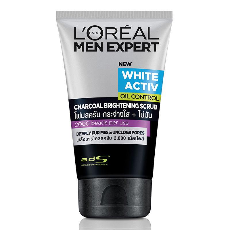 L'Oreal Men Expert White Activ Oil Control Charcoal Brightening Scrub 100ml - Asian Beauty Supply