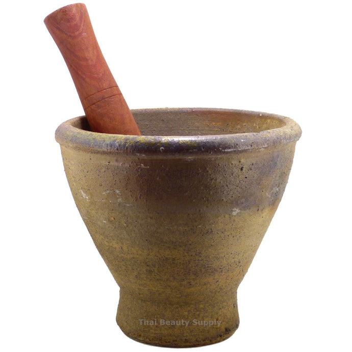 Large Heavy Thai Lao Earthenware Mortar and Hardwood Pestle 7.5 inch