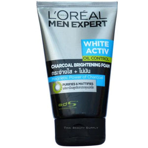 L'Oreal Men Expert White Activ Oil Control Charcoal Brightening Foam 100ml - Asian Beauty Supply