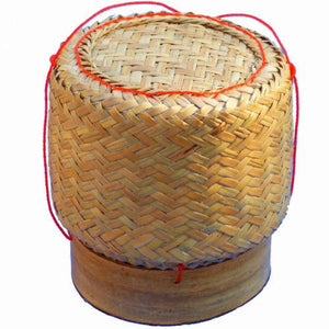 Thai Isaan Rattan and Bamboo Sticky Rice Serving Basket 5 Inch Diameter - Asian Beauty Supply