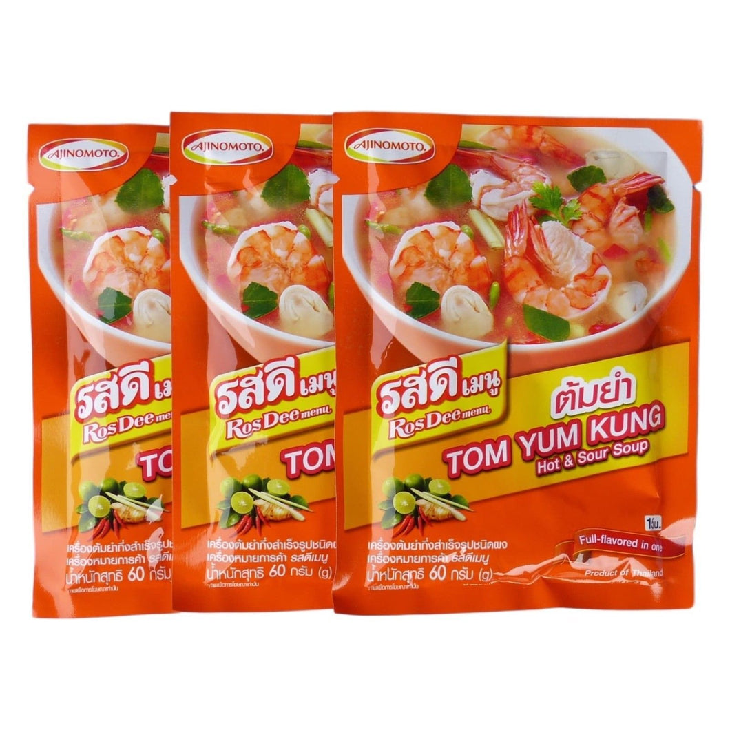 Ajinomoto RosDee Menu Tom Yum Kung Hot and Sour Soup Seasoning Mix Pack of 3 - Asian Beauty Supply