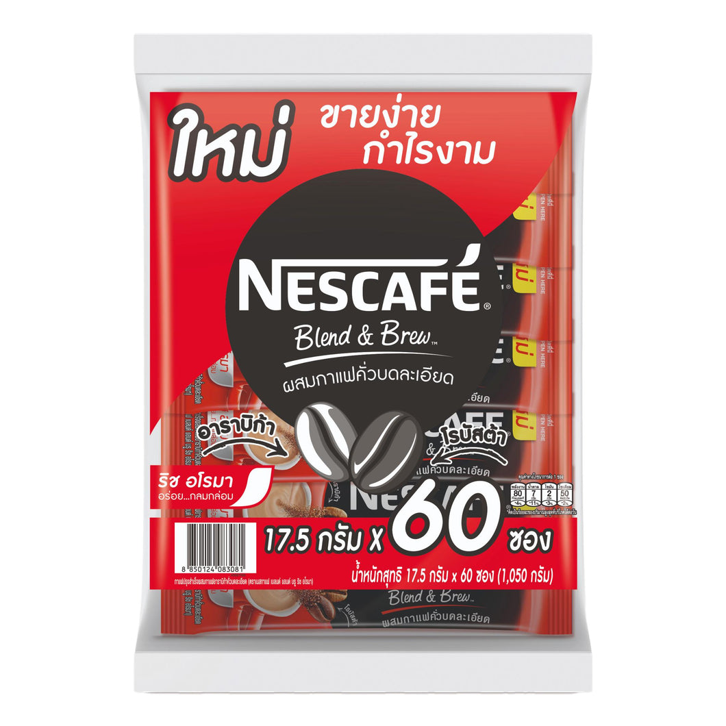 Nescafe Blend & Brew Original 3 in 1 Instant Coffee Red 60 Sticks - Asian Beauty Supply