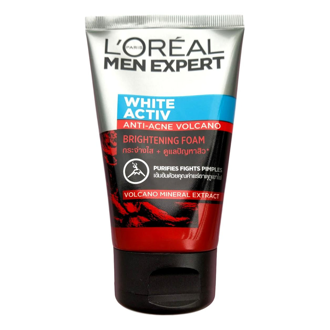 L'Oreal Men Expert White Activ Anti Acne Volcano Brightening Foam 100ml - Asian Beauty Supply