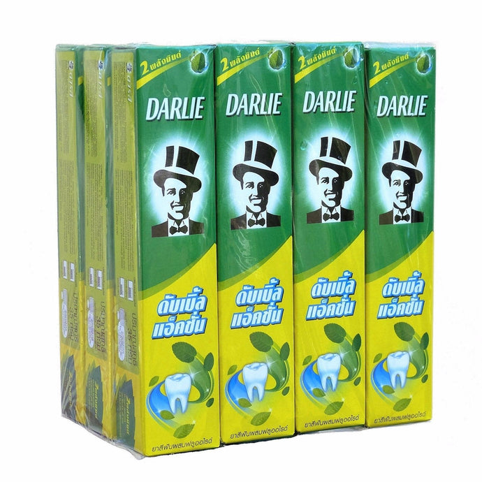 Darlie Double Action Toothpaste Two Mint Powers 35 gram Tubes Pack of 12 - Asian Beauty Supply