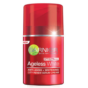 Garnier Ageless White Anti Aging Whitening City Renew Serum Cream SPF30 50ml - Asian Beauty Supply
