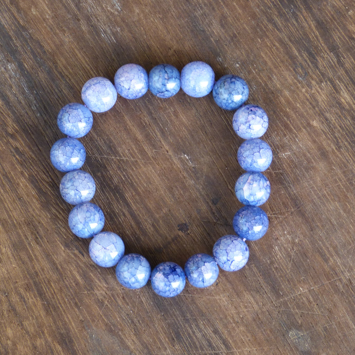 Blue Cracked Agate Bead Bracelet with 12mm Beads - Asian Beauty Supply