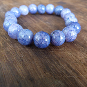 Blue Cracked Agate Bead Bracelet with 12mm Beads