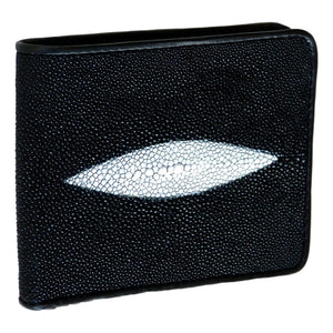 Genuine Stingray Skin Leather Mens Wallet Slim Bifold Black with Two Spines - Asian Beauty Supply