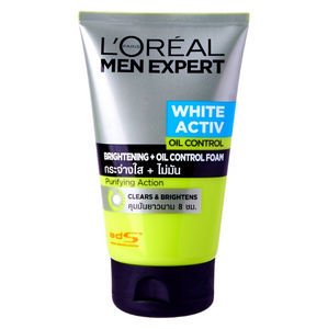 L'Oreal Men Expert White Activ Bright Oil Control Whitening Foam 100ml 3.4oz - Asian Beauty Supply