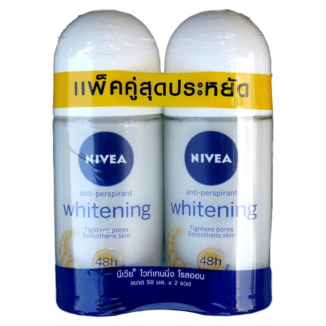 Nivea Whitening Pore Minimizer Deodorant Antiperspirant Roll On 50ml Pack of 2 - Asian Beauty Supply